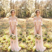 Спагетти ремешок сексуальный Blush розовый шифон невесты платья длинные богемные оборманы пляжные свадебные горничные почвы Maxi платья на заказ
