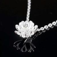 925 Sterling zilveren items Crystal Jewelry Hanger Verklaring Kettingen Zilveren Lotus Bloem Bruiloft Charms Etnische Vintage
