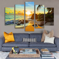 Home Decoration 5 Panel Sea Beach Sunset Painting Modern Art...