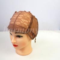 U kısmı Peruk yapmak için kapaklar peruk ayarlanabilir askıları ile streç dantel geri örgü kap saç uzantıları araçları