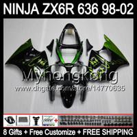 fiamme verdi 8Gifts + corpo per Kawasaki ZX6R 98-02 ZX636 ZX 636 MY40 ZX6R ZX 6R Nero 98 99 00 01 02 1998 1999 2000 2001 2002 carenatura