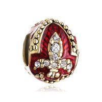 5 stücke pro los Kristall gepflastert Fleur De Lis Charme Faberge Ei Rushion Perlen Passt für Pandora Armbänder