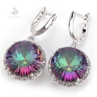 Fashion Romantic Rainbow Mystic Topaz stone Silver Plated Ea...