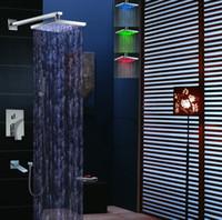 LEDシャワーヘッドと真鍮の噴出口の壁にマウントされたクロム洗浄浴室降雨シャワーセット006-8-2S