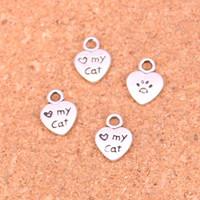 240 قطع أثرية بالفضة القلب الحب قطتي سحر المعلقات ل سوار الأوروبي مجوهرات جعل diy اليدوية 12 * 9 ملليمتر