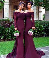 Burgundy 긴 소매 신부 들러리 드레스 결혼식 레이스 인어 롱 슬리브 인어 하녀 명예 가운 웨딩 게스트 정식 드레스 2019