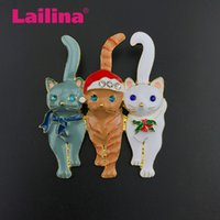 50pcs / lot strass Noël en forme d'animaux Pin en émail chat triple broche