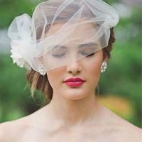 بسيط مذهل وصول جديد 2015 تول الحجاب الزفاف مع يدوية زهرة قفص العصافير الحجاب ليوم الزفاف مخصص EN7077