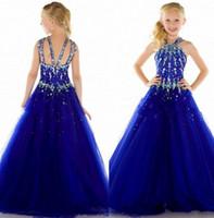 2015 новый тюль королевский синий дешевые конкурс красоты платья для девочек формальные длинные сексуальные девушки платье для свадьбы нестандартного размера