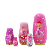 5pcs Nesting Dolls fatti a mano in legno Cute Cartoon Angel Girls Pattern 6