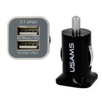 Sıcak 100 adet USAMS 3.1A Çift USB Araba 2 Port Şarj 5 V 3100 mAh Çift Fiş Araç Şarj Adaptörü HTC Samsung S3 S4 S5 Için