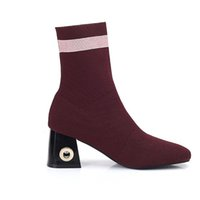 Women fashionable ankle boots elastic sock Boots for girls h...