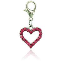 Jinglang Floating Fashion Charms With Hummer Clasp Dangle Rhinestone Peach Heart Charms För Smycken Göra DIY Tillbehör
