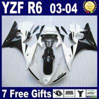 Carénage en ABS noir blanc pour carénage YAMAHA R6 2003 2004 2005 YZFR6 03 04 05 kit de carénage complet + Cadeau gratuit