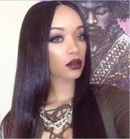 Siyah Kadınlar İpeksi için Brezilyalı Virgin İşlenmemiş İnsan Saç Peruk Düz Combs Bellahair Doğal Renk ile Dantel Açık Peruk örgüleri