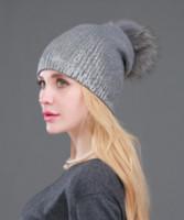Nuovo casual invernali Skullies Berretti a maglia di lana cappelli caldi di moda Pompon reale della pelliccia del procione Caps Skullies cappello per le donne della stampa protezione della pelliccia