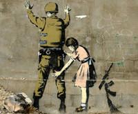"""Poster in tessuto dell'artista Banksy Peace Art Graffiti 32 """"x 24"""" 16 """"x13"""" - 04"""