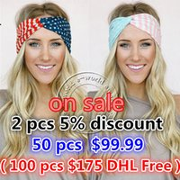 Wholesale-New American Flag Headband 4ème juillet États-Unis Turban Stretch Headbands Bandana Turbante Hair Accessories Livraison gratuite A0394