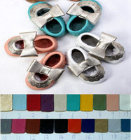 2016 yeni mary jane tarzı moccasins yumuşak taban Hakiki deri Bebek Bebek yürümek Ayakkabı Kızlar ilk yürüteç AYAKKIR ponpon ayakkabıları 20 renk