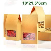 Оптовая 120pcs / Lot 10 * 21,5 * 6см Kraft Paper Box с Clear Window DIY Упаковка для подарков Упаковка для хранения продуктов Oragan сумка для закусок Печенье Nuts