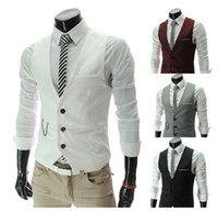Erkek Ince Rahat V Yaka Takım Elbise Yelek Moda Cep Ceket Dış Giyim Giyim Giyim M07 4 Renk M-XXL