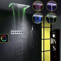 Estilo Contemporáneo 71X43 CM Gran Panel Táctil LED Cabezal de Ducha Rociador de Agua Cascada Ducha Conjunto de Grifo de Ducha de Baño