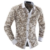 Wholesale-2015 Men Clothing Beige Print Dobby Turn-down Loose Thin Single Breasted Floral Anti-Wrinkle Vintage Free Shipping Shirts