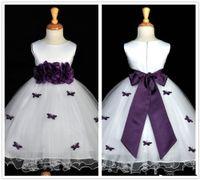 Het försäljning vit och lila blomma flicka klänningar juvel nacke blommor sash ruffles tulle a-line tjejer pageant klänningar skräddarsydda G23