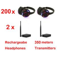 Écouteurs disco silencieux x 200 avec système à deux canaux sans fil - Système sans fil RF pour iPod MP3, musique DJ