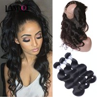 360 Lace Frontal Closures with 3 Bundles Brazilian Body Wave...