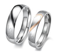 패션 쥬얼리 스테인리스 티타늄 스틸 반지 하프 하트 실버 절단 커플 반지 웨딩 약혼 반지를 분리 수 있습니다 무료 배송