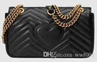 الكلاسيكية جلد أسود الذهب والفضة سلسلة حار بيع 2017 جديد حقائب النساء حقائب الكتف حقائب حمل الحقائب رسول