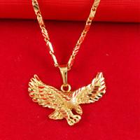 Оптовая продажа-24K золото заполненные ювелирные изделия мужской ожерелье амбиции большой орел кулон