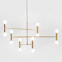 Ligne linéaire moderne lustre plafonnier lampes pendentif lampes à pendentif en bronze ajustable rotative suspendue suspendue pour salle de séjour Foyer