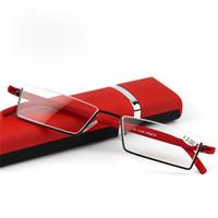 ファッション軽量TR-90ハーフメタルフレームスリム携帯用赤コンパクトメガネアンチエ疲れ止め+ 1.0- + 3.5