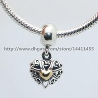 Hochwertige 925 Sterling Silber 14K Real Gold gefüllt mit Liebe baumeln Charm Bead passt europäischen Pandora Schmuck Armbänder Halsketten