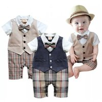 Newest Summer Baby Boys Clothes Tuxedo Rompers Shortall Hand...