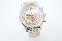 Quarzo Cronografo da uomo in orologio da polso da uomo Due tonalità in oro rosa con quadrante bianco TI3 Cintura in acciaio inox completo A24322 cronometro orologio maschile Relogioes