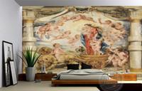 Fondo de escritorio estereoscópico de la pared de la pintura al óleo de la Virgen María de la Virgen europea 3d