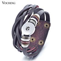 Vocheng Нуса-браслет оптовой продажи смешивания цветов Привязать ювелирных изделий из натуральной кожи 18mm металла Кнопка мгновенного Charm NN-358