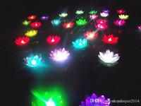 19 cm LED Uçan Fener Dileğiyle Fenerler Çin Yüzer Bahçe Su / Gölet Yapay Lotus Çiçek Lambası Noel Parti Lambası Dilek