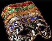 20 ADET Yarım Yüz Maskesi Cadılar Bayramı Masquerade maske erkek Venedik İtalya flathead dantel parlak bez maskeleri