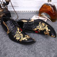 2016 Corea Estilo Exclusivo Negro Zapatos para hombre Bordado de Oro Dragón Genuino Cuero Hombre Zapatos con cordones Oxfords Moda Zapatos de Negocios de Boda