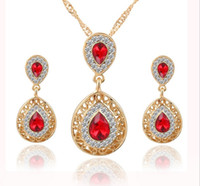 Women bridal Wedding Jewelry Sets Charm Crystal Water Drop P...