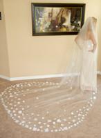 Velo de Novia Catedral Longo Veios de Noiva 2021 Laço Marfim Branco Duas Camadas Tule e Lace Bridal Veils Purfle Pente