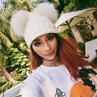 Großhandels-Doppeltes Pelzball-Kappe pom poms Winter wärmen Hut für Frauenmädchenhut strickte Beanies Kappe häkeln Hut nagelneue starke weibliche Kappe