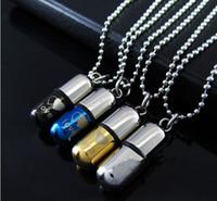Pílulas de Amor de Aço Inoxidável Lírio Têm Pingente de Afinidade Mútua Removível urna perfume colar com Cadeia e Saco de Presente