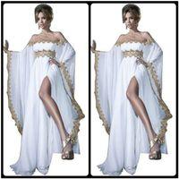2020 아랍 스타일 긴 소매 골드 레이스와 화이트 아플리케 시폰 Abaya Kaftan 저녁 댄스 파티 드레스 가운 여성 가운