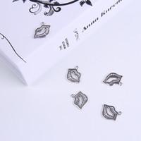 2015 hot koop zilver / koper retro lip hanger fabricage diy sieraden hanger fit ketting of armbanden charme 250pcs / lot 244w