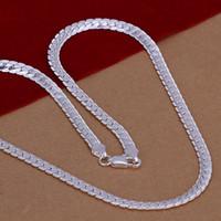 Yüksek kalite 925 ayar gümüş kaplama yılan zincir kolye moda adam takı 5 MM X 20 inç düşük fiyat ücretsiz kargo